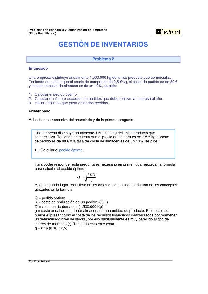 Problemas de Econom ía y Organización de Empresas (2º de Bachillerato)                      GESTIÓN DE INVENTARIOS        ...