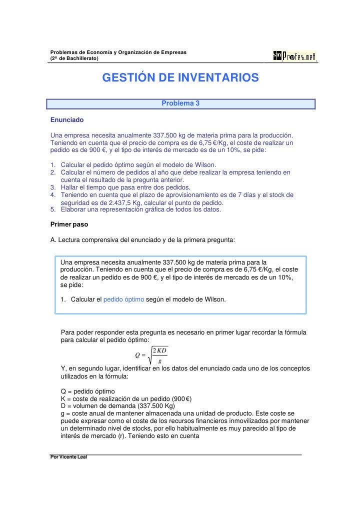 Problemas de Economía y Organización de Empresas (2º de Bachillerato)                      GESTIÓN DE INVENTARIOS         ...