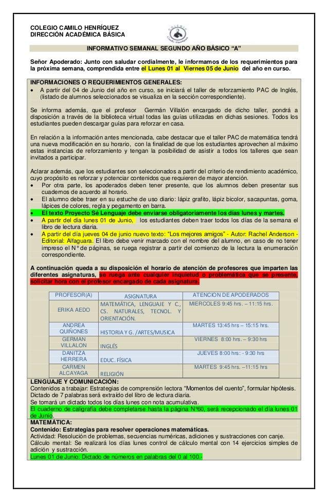 """COLEGIO CAMILO HENRÍQUEZ DIRECCIÓN ACADÉMICA BÁSICA INFORMATIVO SEMANAL SEGUNDO AÑO BÁSICO """"A"""" Señor Apoderado: Junto con ..."""