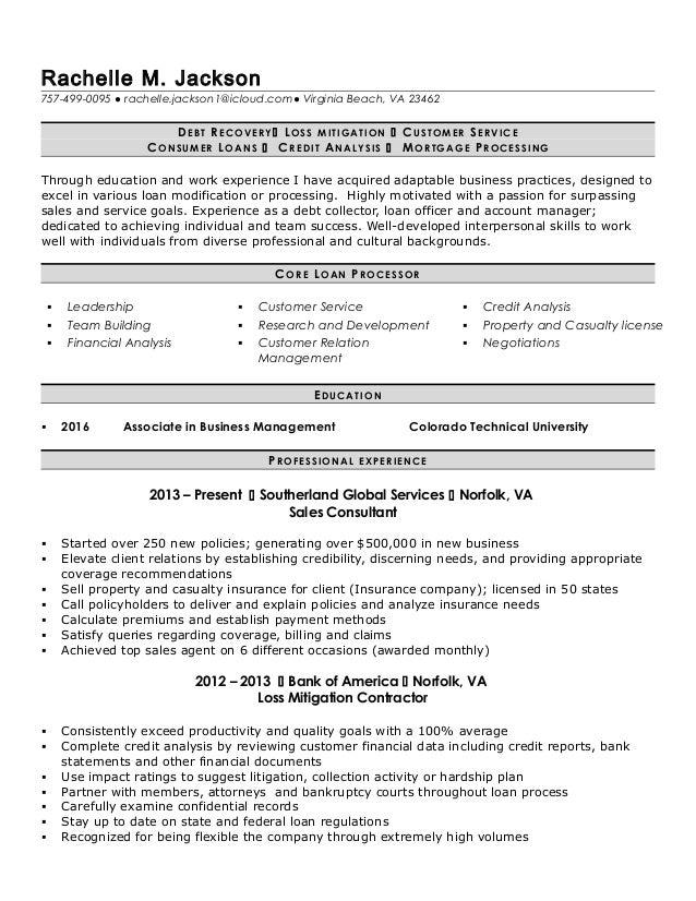 R.Jackson loan processor resume