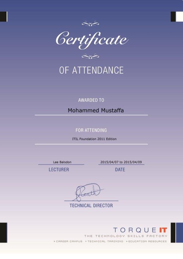 Itil Foundation V3 Attendance Certificate