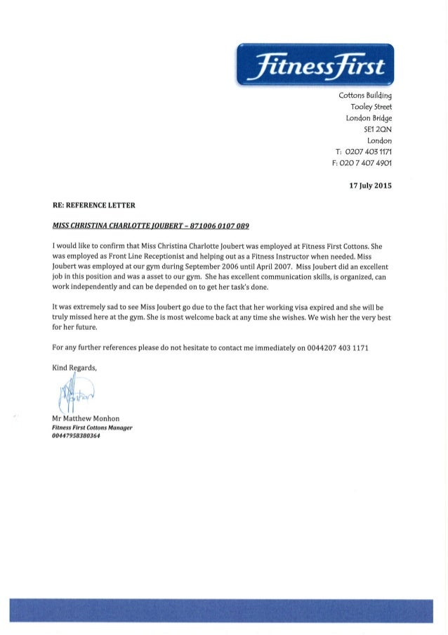 fitness first cottons reference letter