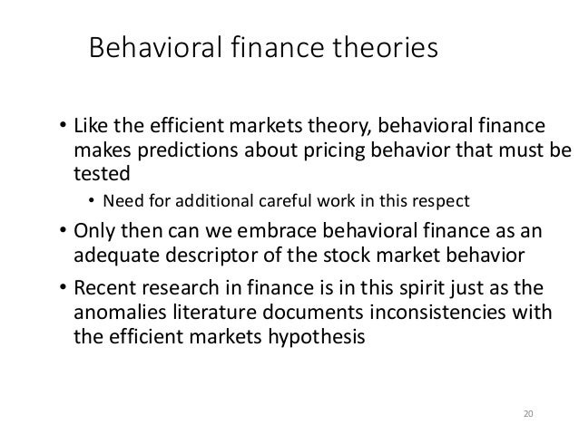 """an overview of the efficient market theory Overview ○ an ideal market is one in which prices provide accurate signals for  resource  extreme null hypothesis: a market is """"efficient"""" if prices always """"fully."""