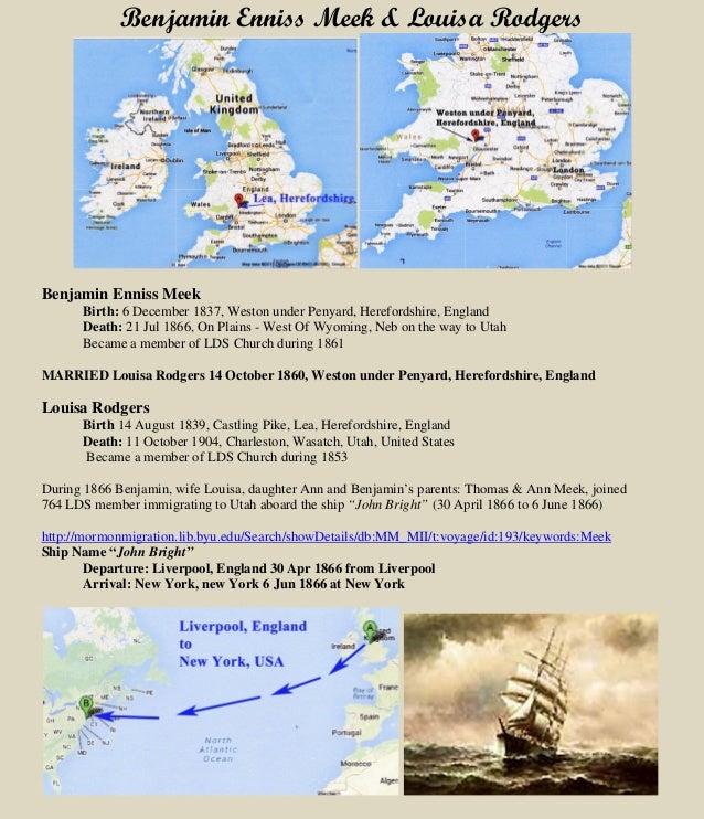 Benjamin Enniss Meek & Louisa Rodgers Benjamin Enniss Meek Birth: 6 December 1837, Weston under Penyard, Herefordshire, En...