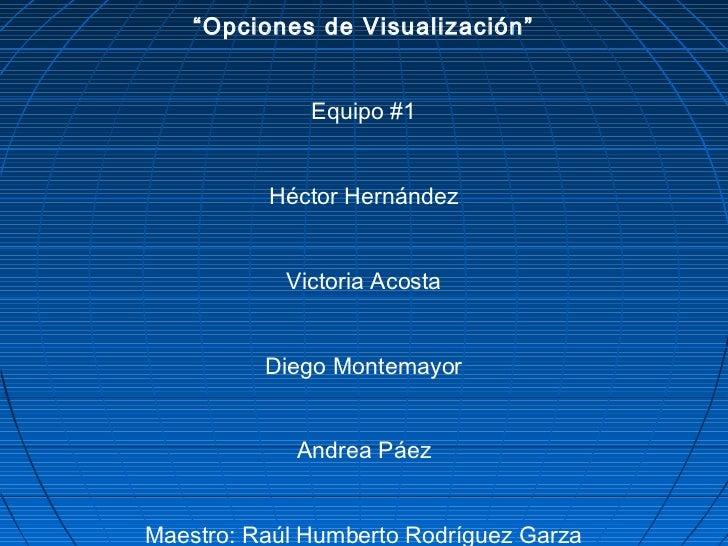 """""""Opciones de Visualización""""              Equipo #1          Héctor Hernández            Victoria Acosta          Diego Mon..."""