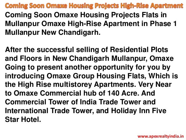 Coming Soon Omaxe Housing Projects Flats in Mullanpur Omaxe High-Rise Apartment in Phase 1 Mullanpur New Chandigarh. After...