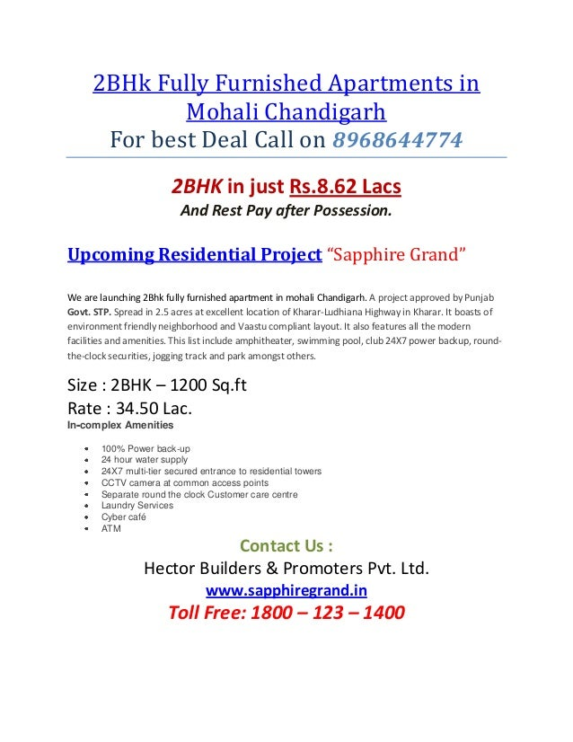2BHk Fully Furnished Apartments in              Mohali Chandigarh       For best Deal Call on 8968644774                  ...