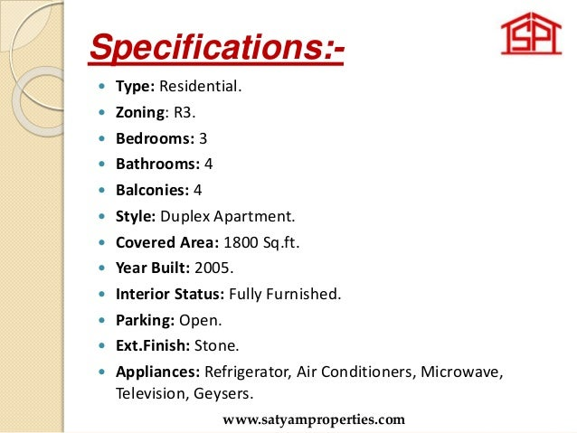 Specifications:-  Type: Residential.  Zoning: R3.  Bedrooms: 3  Bathrooms: 4  Balconies: 4  Style: Duplex Apartment....