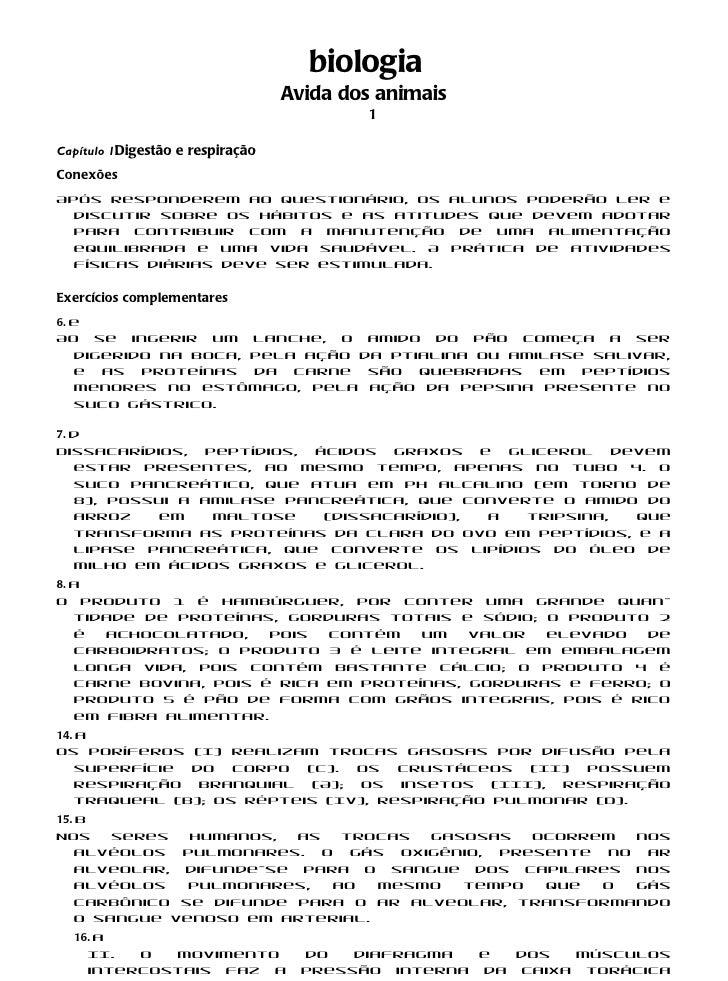 biologia                                  Avida dos animais                                          1Capítulo 1Digestão e...