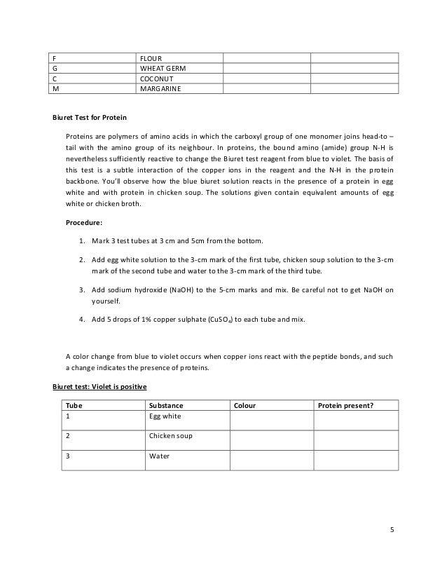 biuret test for protein lab report