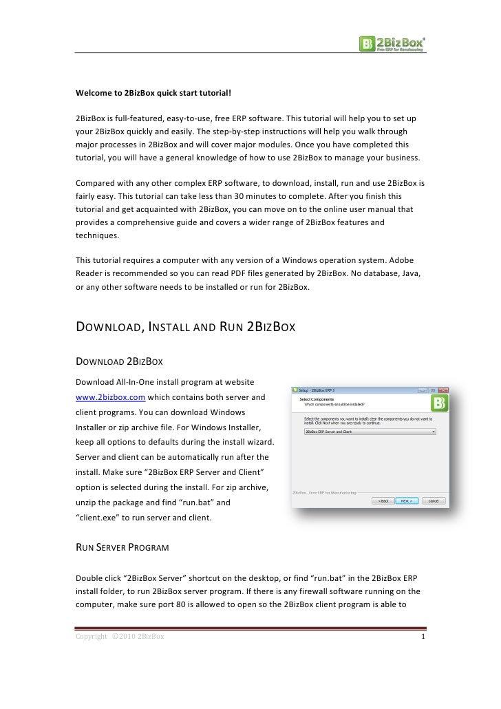 Free ERP 2BizBox Quick Start Tutorial