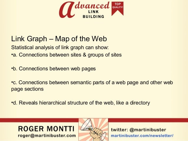 Link Graph – Map of the Web Statistical analysis of link graph can show: •a. Connections between sites & groups of sites •...