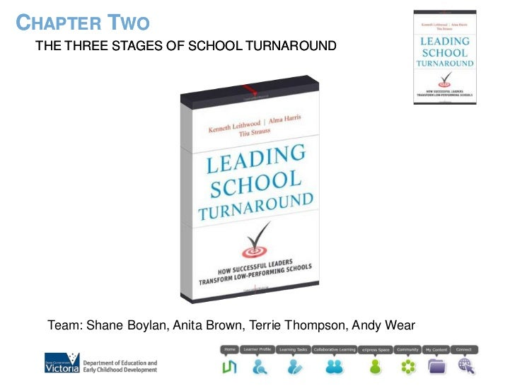 Chapter Two<br />The three stages of school turnaround<br />Team: Shane Boylan, Anita Brown, Terrie Thompson, Andy Wear<br />