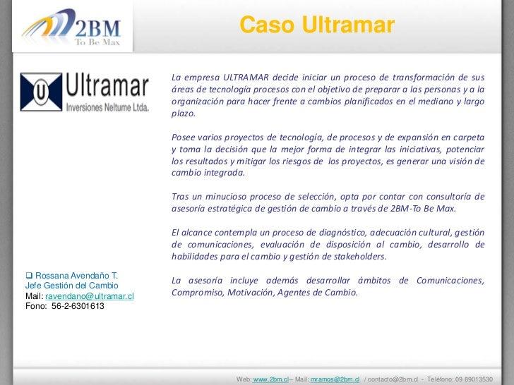 Caso Ultramar                              La empresa ULTRAMAR decide iniciar un proceso de transformación de sus         ...