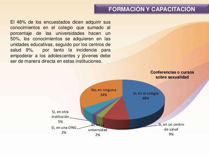 FORMACIÓN Y CAPACITACIÓNEl 48% de los encuestados dicen adquirir susconocimientos en el colegio que sumado alporcentaje de...
