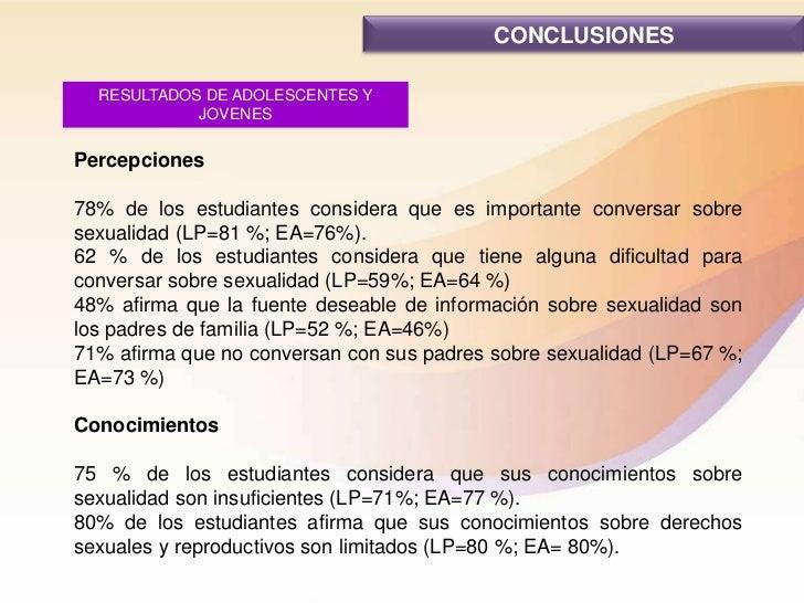 CONCLUSIONES  RESULTADOS DE ADOLESCENTES Y            JOVENESPercepciones78% de los estudiantes considera que es important...