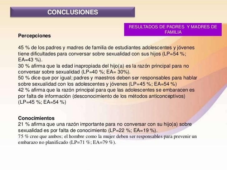 CONCLUSIONES                                                   RESULTADOS DE PADRES Y MADRES DE                           ...