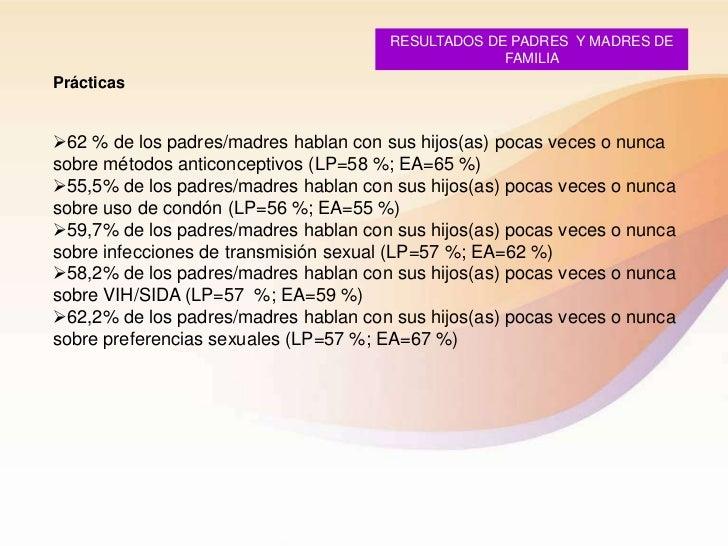RESULTADOS DE PADRES Y MADRES DE                                                   FAMILIAPrácticas62 % de los padres/mad...