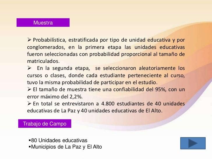 Muestra  Probabilística, estratificada por tipo de unidad educativa y por conglomerados, en la primera etapa las unidades...