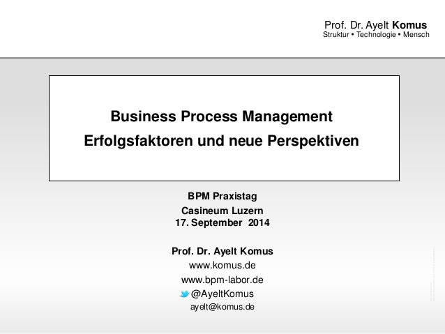 www.komus.de  Prof. Dr. Ayelt Komus  Struktur  Technologie  Mensch  Business Process Management  Erfolgsfaktoren und neu...