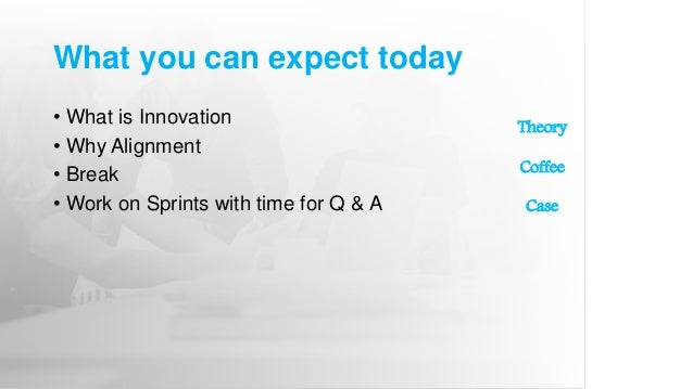What you can expect today • What is Innovation • Why Alignment • Break • Work on Sprints with time for Q & A Theory Coffee...