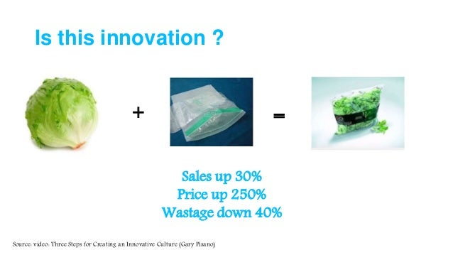 Is this innovation ? Sales up 30% Price up 250% Wastage down 40% + = Source: video: Three Steps for Creating an Innovative...