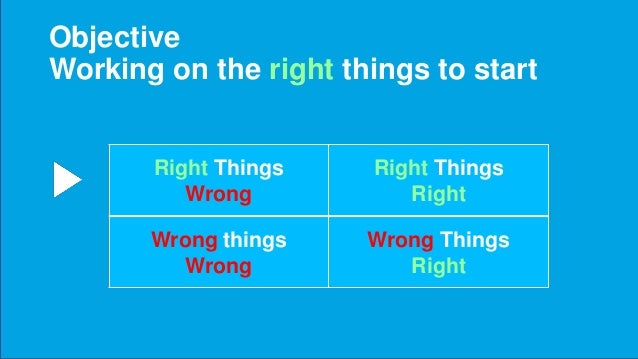 Doing the wrong things right … Makes you wronger (RTW is better than WTR)