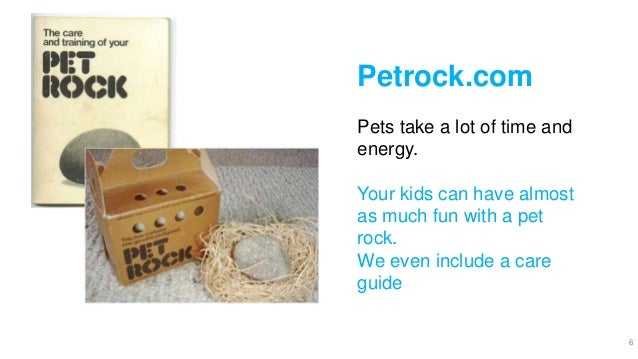 6 Petrock.com Pets take a lot of time and energy. Your kids can have almost as much fun with a pet rock. We even include a...