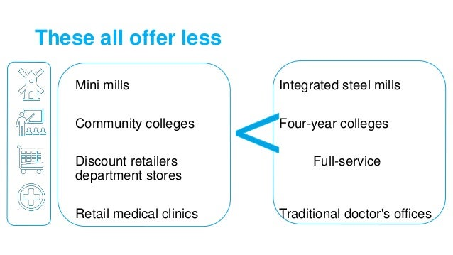 These all offer less Mini mills Integrated steel mills Community colleges Four-year colleges Discount retailers Full-servi...