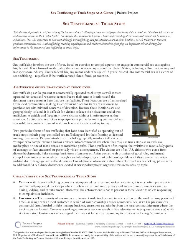Sex Trafficking at Truck Stops At-A-Glance | Polaris ProjectPolaris Project | National Human Trafficking Resource Center |...