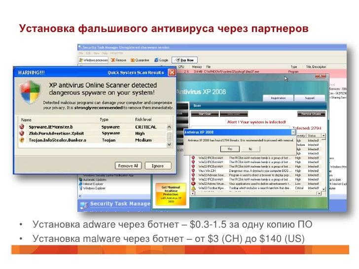 Установка фальшивого антивируса через партнеров• Установка adware через ботнет – $0.3-1.5 за одну копию ПО• Установка malw...