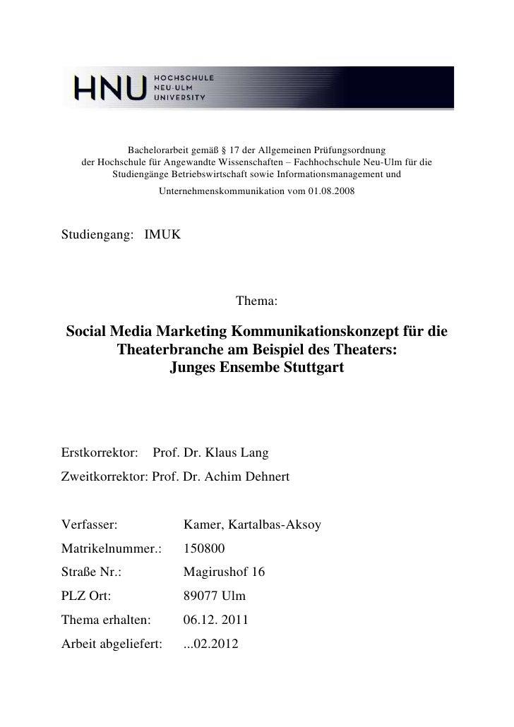 Bachelorarbeit gemäß § 17 der Allgemeinen Prüfungsordnung   der Hochschule für Angewandte Wissenschaften – Fachhochschule ...