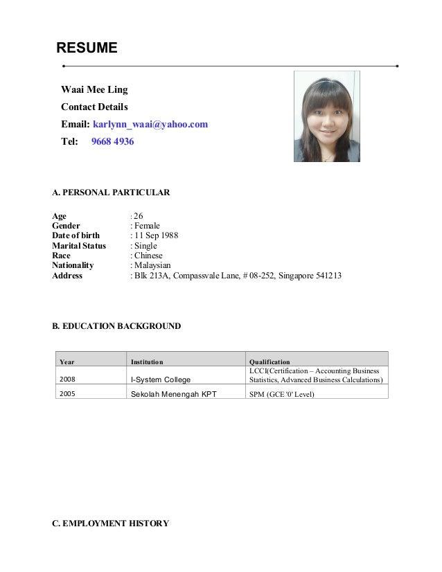 waai mee ling resume