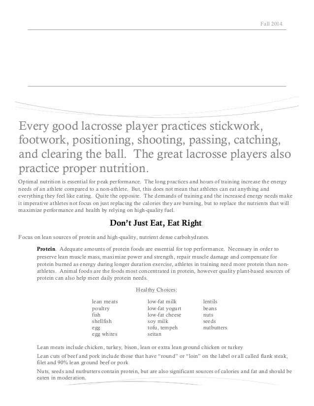 Lax nutrition guide