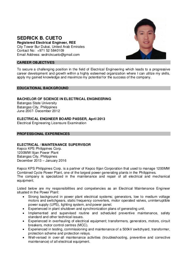 resume sample resume for electrical engineer in philippines sample resume for electrical engineer in philippines frizzigame - Registered Nurse Resume Sample Format