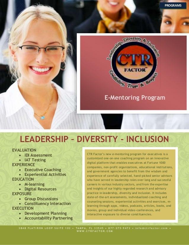 E-Mentoring Program LEADERSHIP – DIVERSITY - INCLUSION EVALUATION  IDI Assessment  IAT Testing EXPERIENCE  Executive Co...