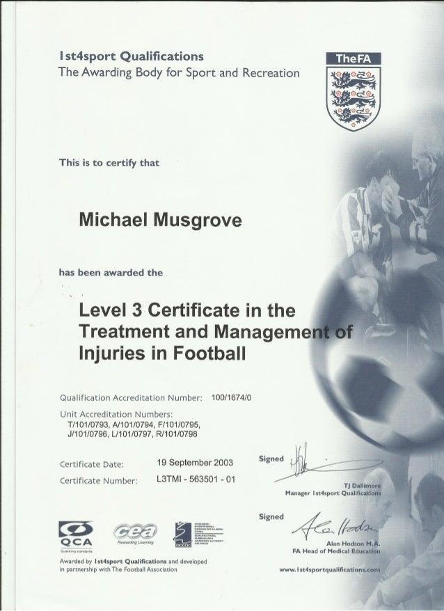 1st4Sport Level 3 Certificate - Treatment & Management of Injury In Sport