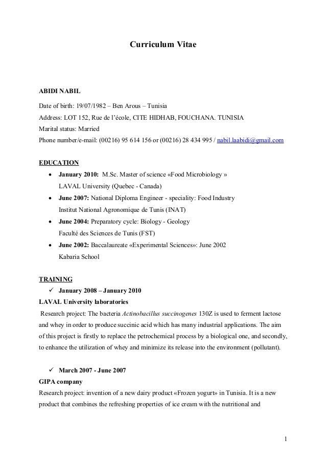 Curriculum Vitae ABIDI NABIL Date of birth: 19/07/1982 – Ben Arous – Tunisia Address: LOT 152, Rue de l'école, CITE HIDHAB...