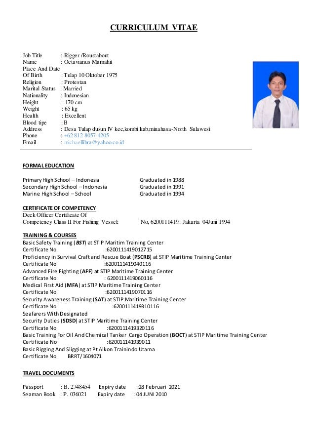 my cv for offshore f