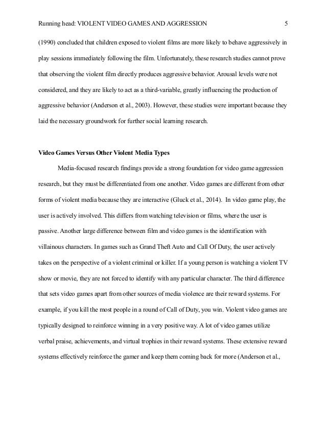violent video games children research paper