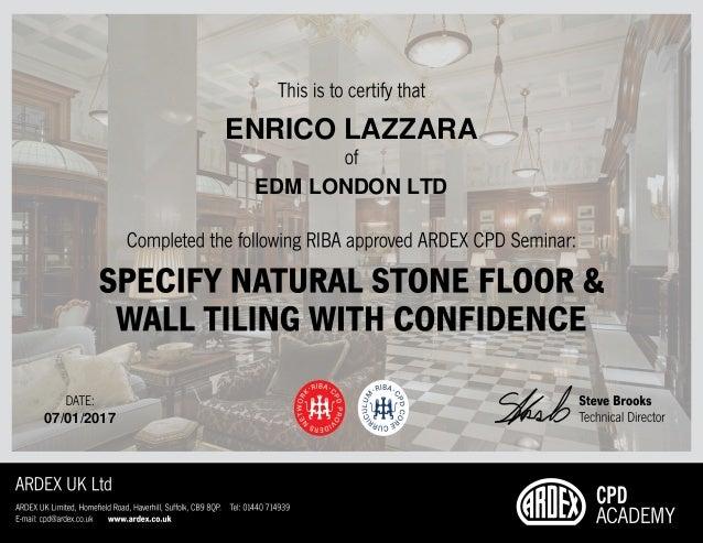 Certificate Natual Stone RIBA