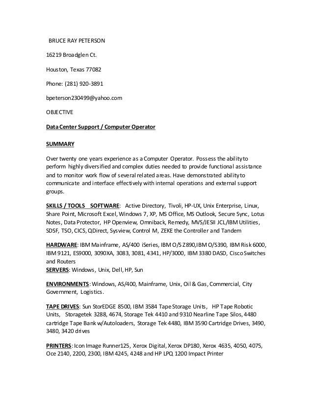 computer operator cover letter basic heavy equipment operator