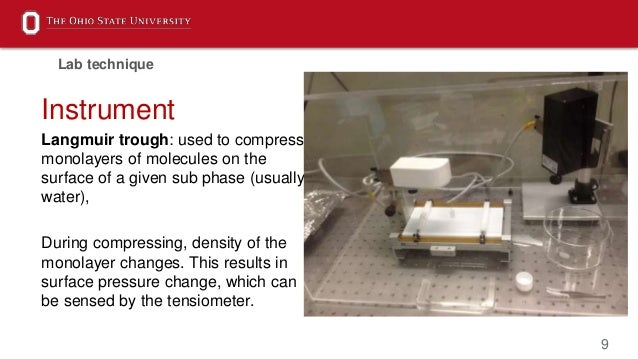 9 Instrument Langmuir trough: used to compress monolayers of molecules on the surface of a given sub phase (usually water)...