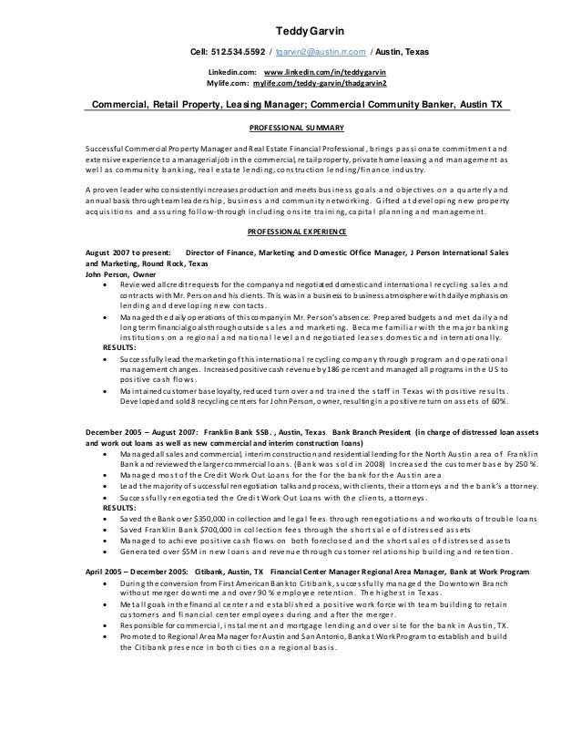 TEDDY GARVIN Commercial Property Resume 5.18.2015