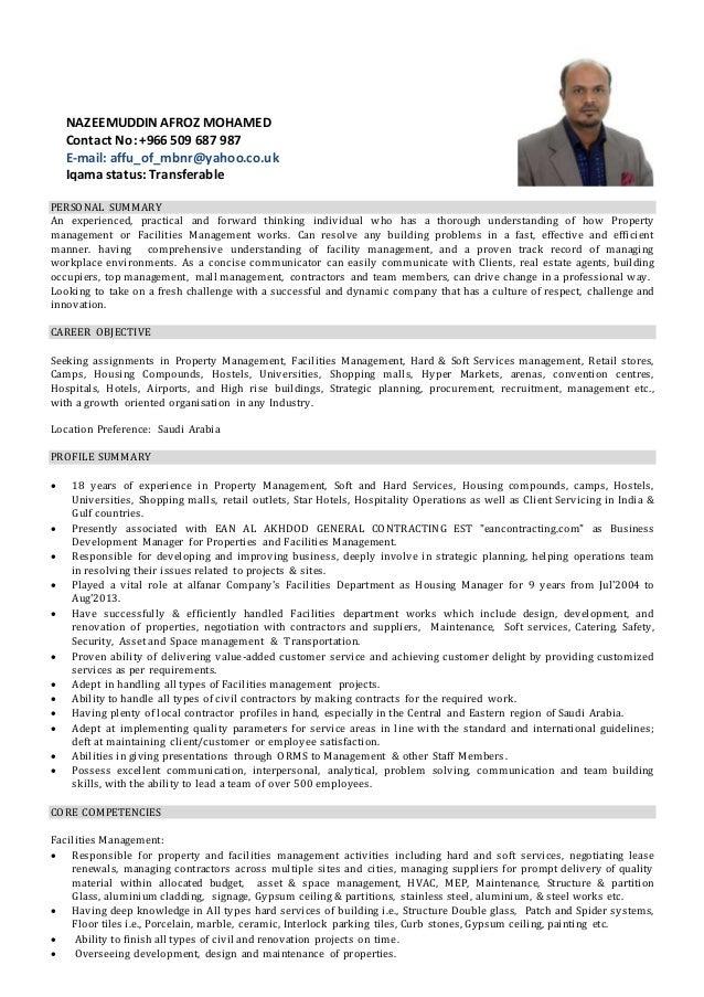 Facility Manager Resume India Professional Resume Templates