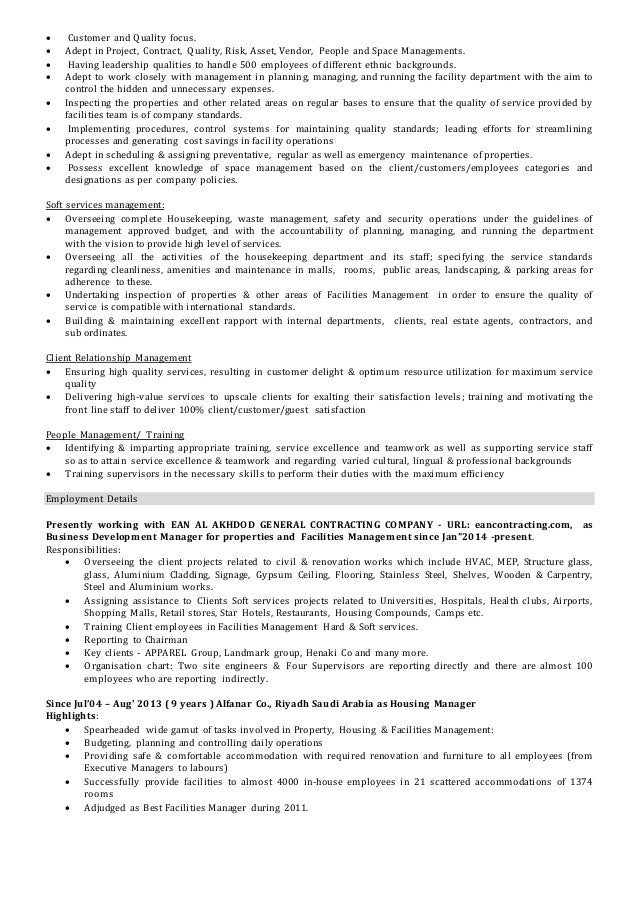 ... Transferable; 2.  Facility Manager Resume