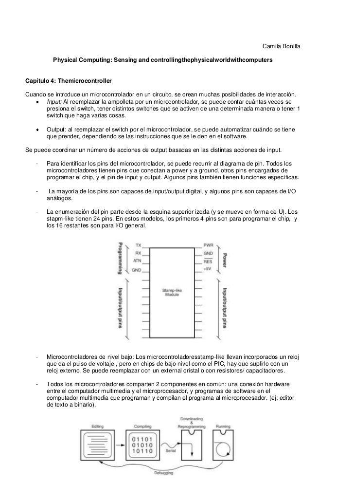 Camila Bonilla          Physical Computing: Sensing and controllingthephysicalworldwithcomputersCapítulo 4: Themicrocontro...