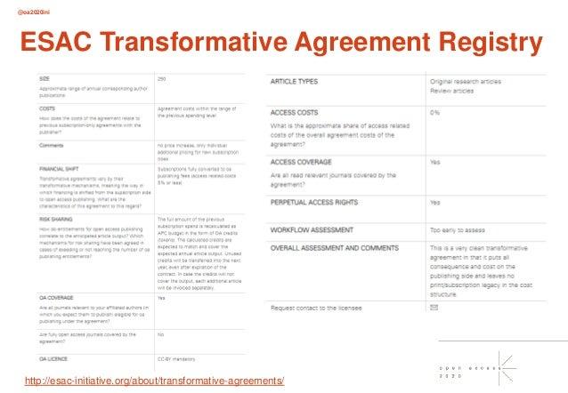 @oa2020ini ESAC Transformative Agreement Registry http://esac-initiative.org/about/transformative-agreements/