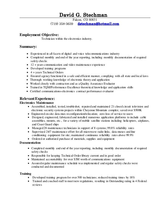 david g resume 2014  technician