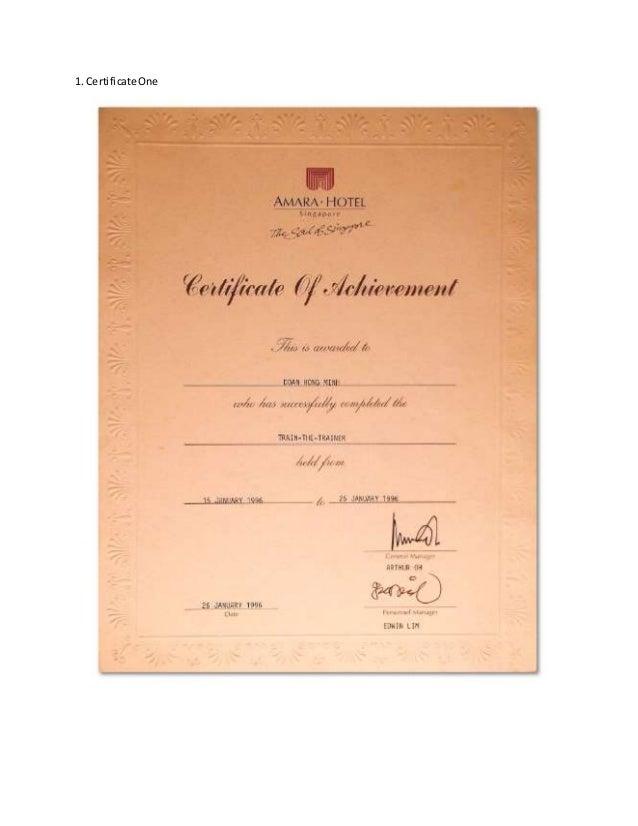 singapore hotel training certificates